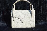 CREAM Ivory 1950's-60's RENDL GENUINE OSTRICH Skin Handbag
