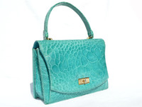 Stunning TURQUOISE Blue 1950's-1960's TURTLE Skin Handbag - Dominique