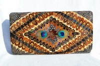 1960's-1970's Ample PEACOCK Feather CLUTCH Bag w/Box!