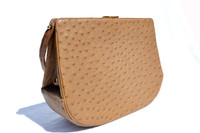British Tan RENDL 1950's-60's GENUINE OSTRICH Skin Handbag - I. MAGNIN