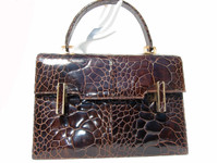 AMPLE 1950's-60's Chocolate EXOTIC TURTLE SKIN Handbag