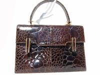 AMPLE 1950's-60's Chocolate EXOTIC TURTLE SKIN Handbag