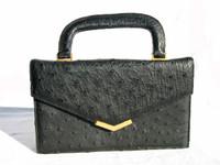 Petite JET BLACK 1950's-60's OSTRICH Skin Handbag - KORET