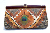 Stunning 1960's-1970's PEACOCK & Pheasant Feather CLUTCH Bag