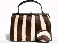 CORBEAU 1960's GENUINE ZEBRA FUR Handbag w/Change Purse