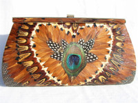 Stunning 1960's-1970's Ample PEACOCK Feather CLUTCH Bag w/Box!