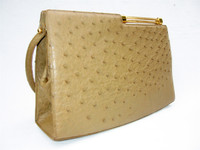 Tan RENDL 1950's-60's GENUINE OSTRICH Skin Handbag - I. MAGNIN