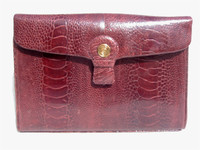 TIFFANY & CO. 1970's Burgundy OSTRICH LEG CLutch Bag