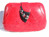 RED & BLACK Studded 1970's FROG SKIN Clutch Shoulder Bag