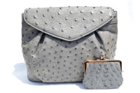L'Oro BOLSETTA 1980's-90's GRAY Paloma Ostrich Skin Shoulder Bag w/Purse!