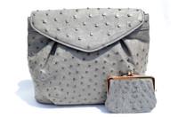 L'Oro BOLSETTA 1980's-90's GRAY Paloma Ostrich Skin Shoulder Bag w/Purse!