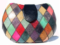 COLORFUL Harlequin 1970's-80's FROG SKIN Clutch Shoulder Bag