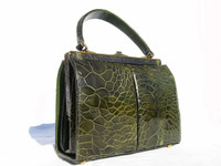 1950's-60's FOREST GREEN Exotic TURTLE SKIN Handbag - PALIZZIO