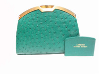 Timeless GREEN 1970's-80's Ostrich Skin Clutch Purse - LORENZI