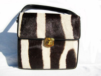 1970's GENUINE ZEBRA HIDE FUR Shoulder Cross Body Messenger Bag