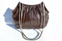 1980's FINESSE La MODEL BROWN Karung Snake Skin Shoulder Bag