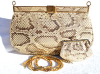 Jeweled Matte METALLIC GOLD 1980's PYTHON Snake Skin Clutch Shoulder Bag - LEIBER