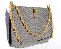 DARK GRAY 1960's MATTE-Finish Python Snake Skin Shoulder Bag - MANON - FISH Clasp!
