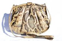 1980's-90's BLUE & TAN PYTHON Snake Skin Shoulder Bag - COLOMBETTI