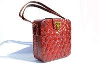 RED 1940's-50's Quilted PYTHON Snake Skin Handbag - BASS