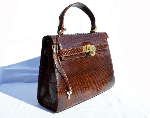 20f200f4bb83 XL 1970 s-80 s Brown PYTHON Skin BIRKIN Style Bag with Lock   Key ...