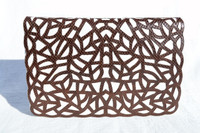 "Brown & White ""WEB"" 1970's-80's Karung SNAKE Skin Clutch Bag - ANDREA PFISTER"