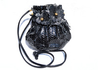 Custom 1970's-80's Black PYTHON Snake Skin CROSS Body Shoulder Bag - Ostrich Skin Flowers!