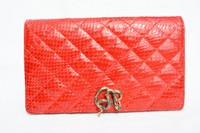 Jeweled Red 1980's QUILTED COBRA Snake Skin CLUTCH Cross Body Shoulder Bag - SAKS