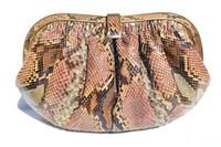 1980's-90's Pastel PYTHON Snake Skin Clutch Shoulder Bag - COLOMBETTI