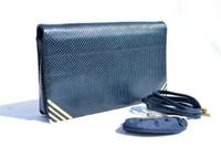 NAVY BLUE 1990's Deco Style JUDITH LEIBER Clutch Shoulder Bag