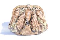 1980's-90's PASTEL PYTHON Snake Skin Handbag - COLOMBETTI - TAGS!