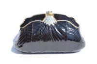 BLACK Jeweled 1970's Hard-Sided Snake Skin Cobra Evening Bag