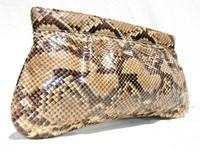 """Ample 15"""" 1970's-80's PYTHON Snake Skin CLUTCH Shoulder Bag"""