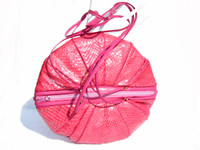Round PINK 1970's-80's COBRA Snake Skin CROSS Body Bag -SHARIF