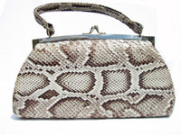 1960's Natural MATTE Finish PYTHON Snake Skin Handbag
