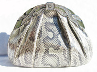 1970's-80's FINESSE LA MODEL METALLIC PYTHON Snake Skin Clutch