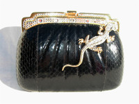 BLACK Jeweled 1980's COBRA Snake Skin CLUTCH Evening Bag - TIRA's