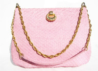 PINK 1960's MATTE-Finish Snake Skin Shoulder Bag - MANON