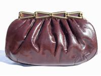 Chocolate ASHNEIL 1970's KARUNG Snake Skin CLUTCH Shoulder Bag