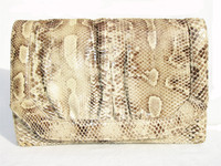 Ample 1970's-80's PYTHON Snake Skin CLUTCH Shoulder Bag - VARON