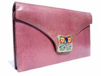 PLUM 1960's-70's KARUNG Snake Skin CLUTCH Shoulder Bag - La Jeunesse