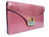 PLUM 1960's-70's KARUNG Snake Skin CLUTCH Shoulder Bag - La Jeunesse