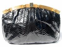 WALTER KATTEN 1970's-80's Black COBRA Snake Skin CLUTCH Bag