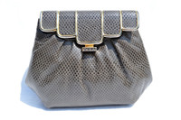 GRAY 1970's KARUNG Snake Skin Clutch Shoulder Bag - ASHNEIL