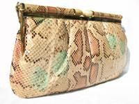 1970's Pastel PYTHON Snake Skin Clutch/Shoulder Bag w/LUCITE Clasp