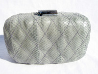 Gray QUILTED SEA Snake Skin CLUTCH Shoulder Bag - SERPUI MARIE