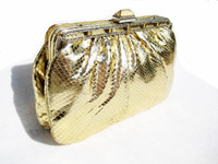 Jeweled METALLIC GOLD 1970's COBRA Snake Skin Bag - LEIBER