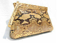 Gorgeous 1970's-80's PYTHON Snake Skin CLUTCH Bag