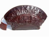 "CHOCOLATE 1940's-50's SNAKE Skin ""Fan"" CLUTCH Bag - DEITSCH"