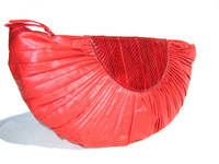 "LONG 19"" 1970's RED Leather & Snake Skin Deco Style Clutch Purse"